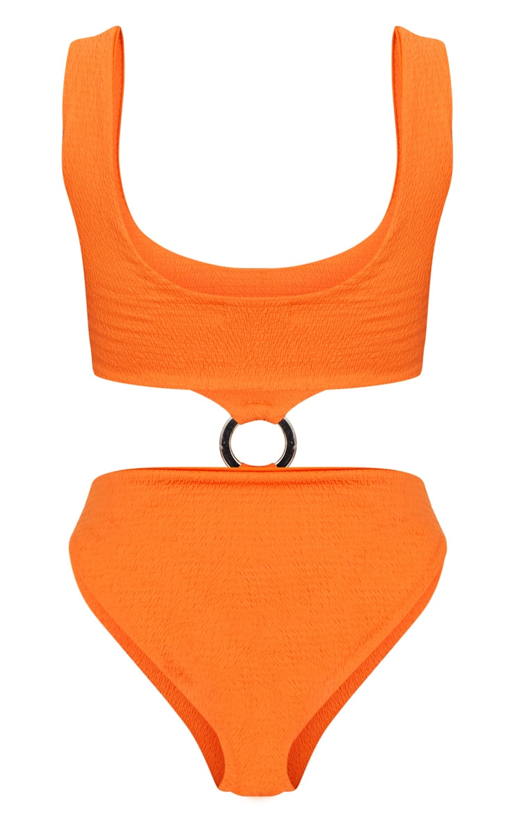Orange Crinkle Two Tone Ring Middle Swimsuit 4