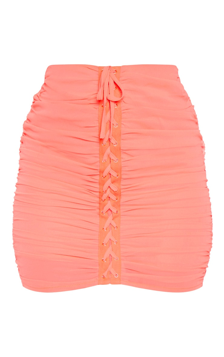 Coral Mesh Lace Up Detail Mini Skirt 3