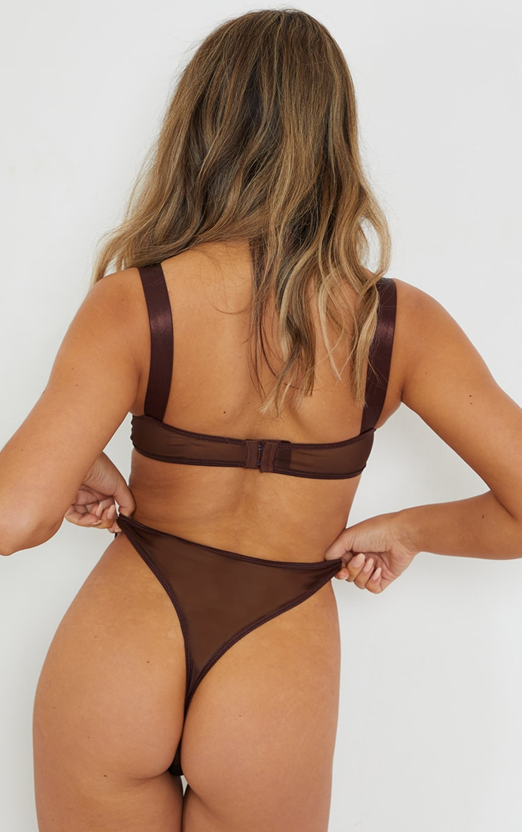 Chocolate Satin Binding Detail Thong 2