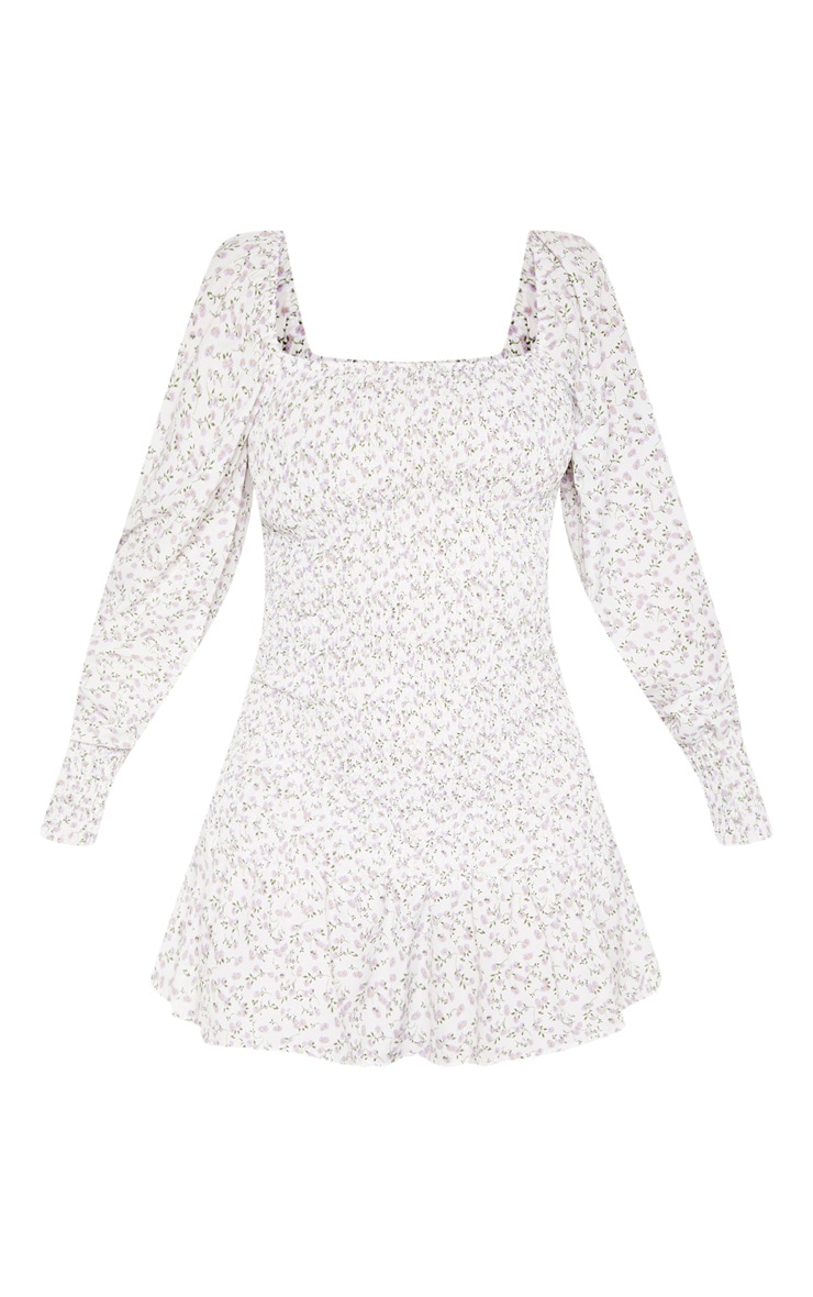 White Floral Print Puff Sleeve Shirred Dress 3