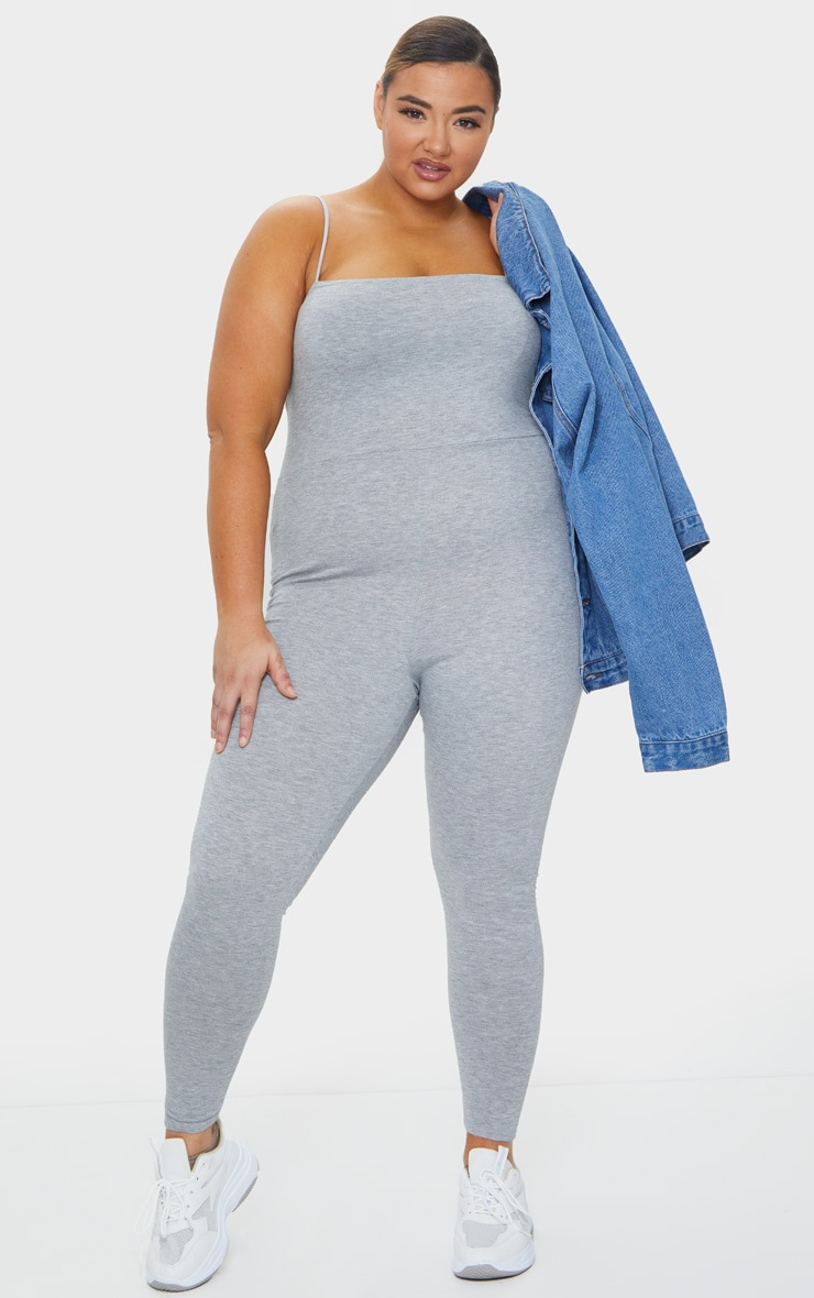 Plus Grey Basic Strappy Jumpsuit 1