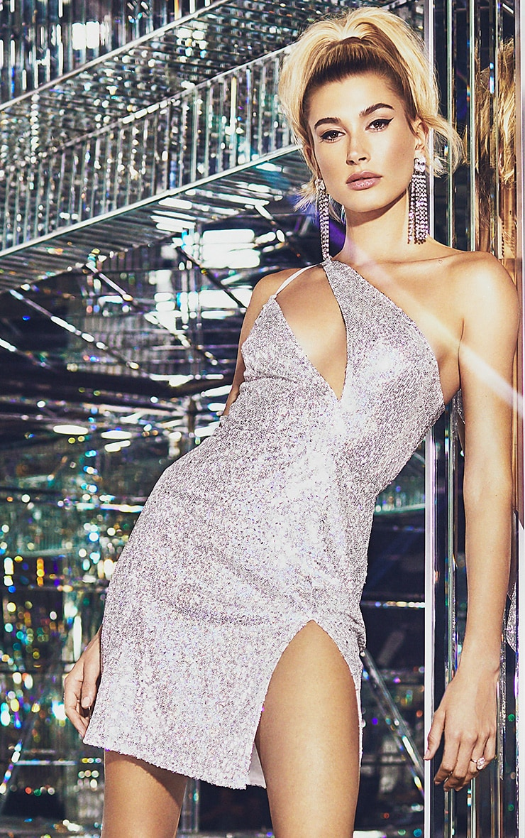Silver Sequin One Shoulder Cut Out Bodycon Dress 1