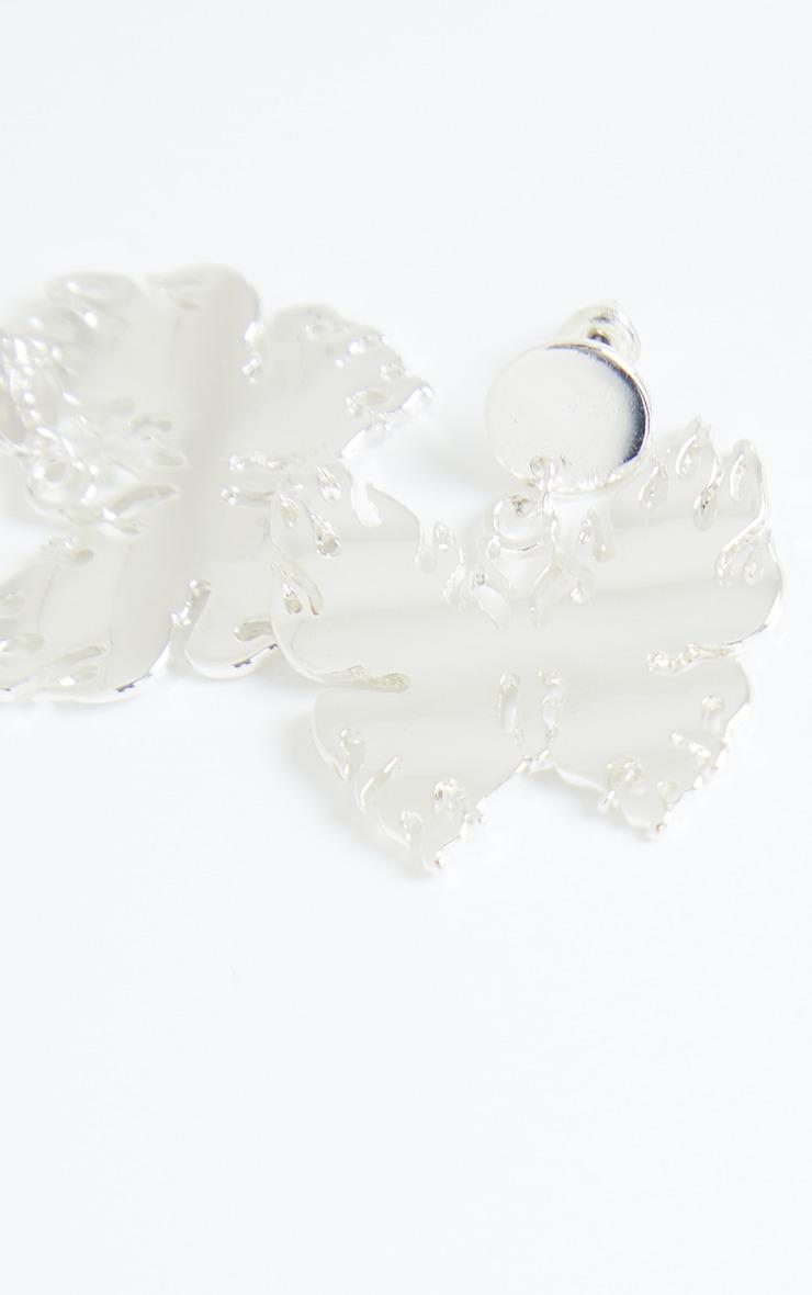Silver Flame Butterfly Oversized Earrings 3