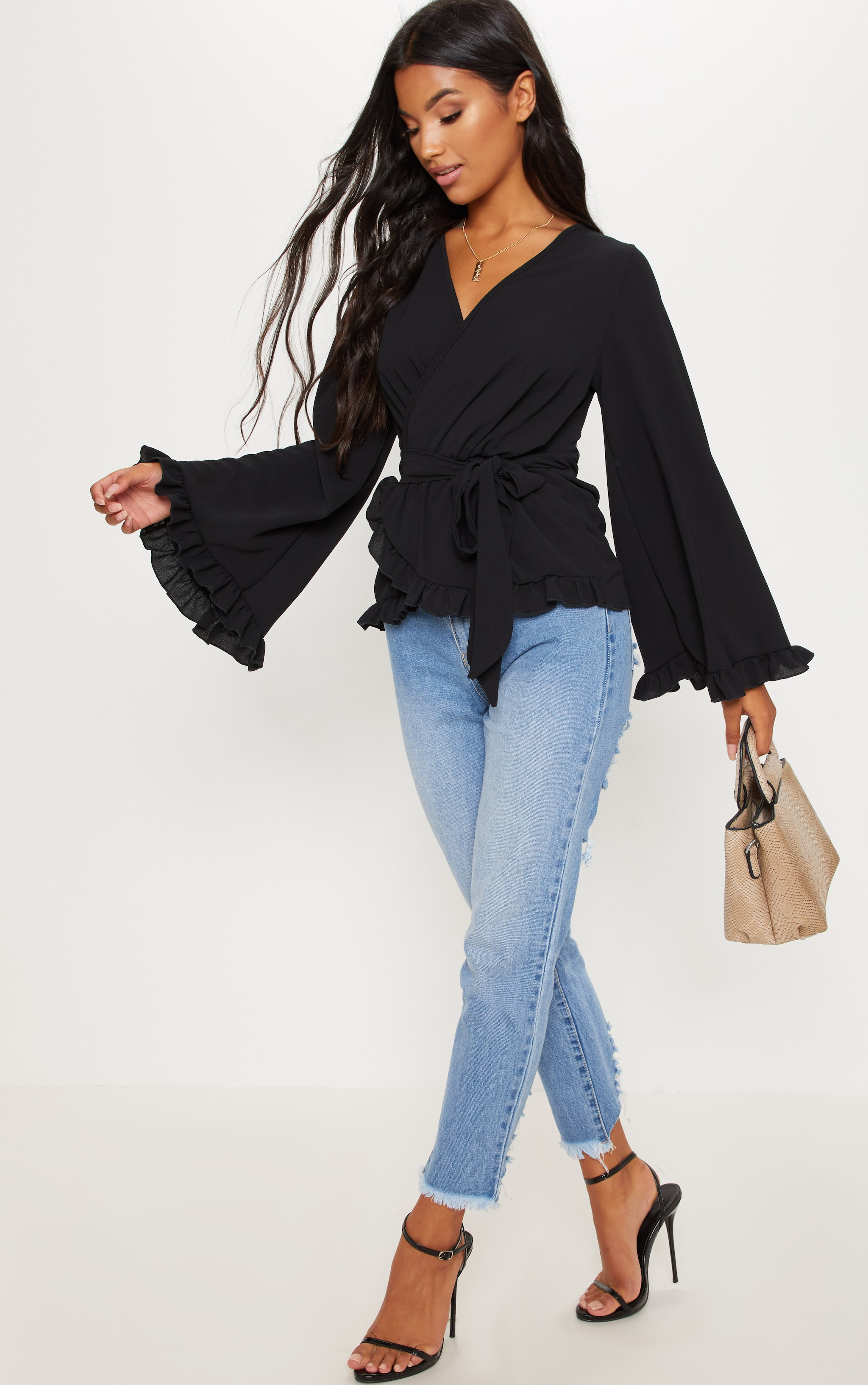 Black Flared Sleeve Frill Blouse 4