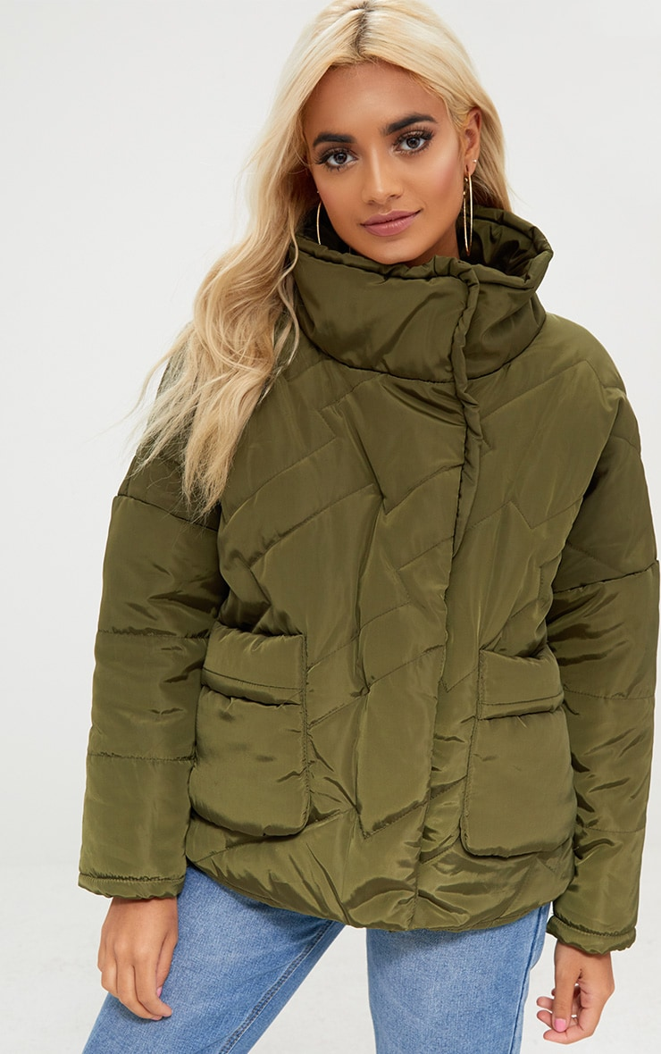 Petite Khaki Cropped Puffer Jacket with Front Pockets 4