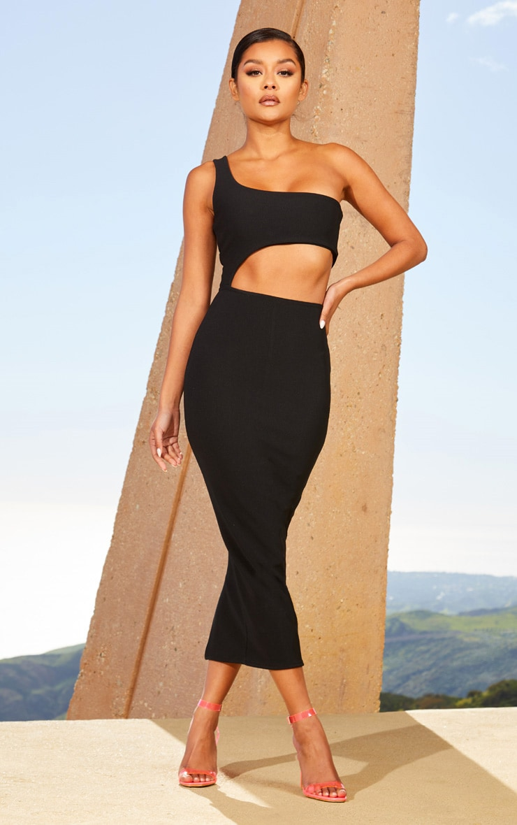 Black Second Skin One Shoulder Cut Out Midaxi Dress