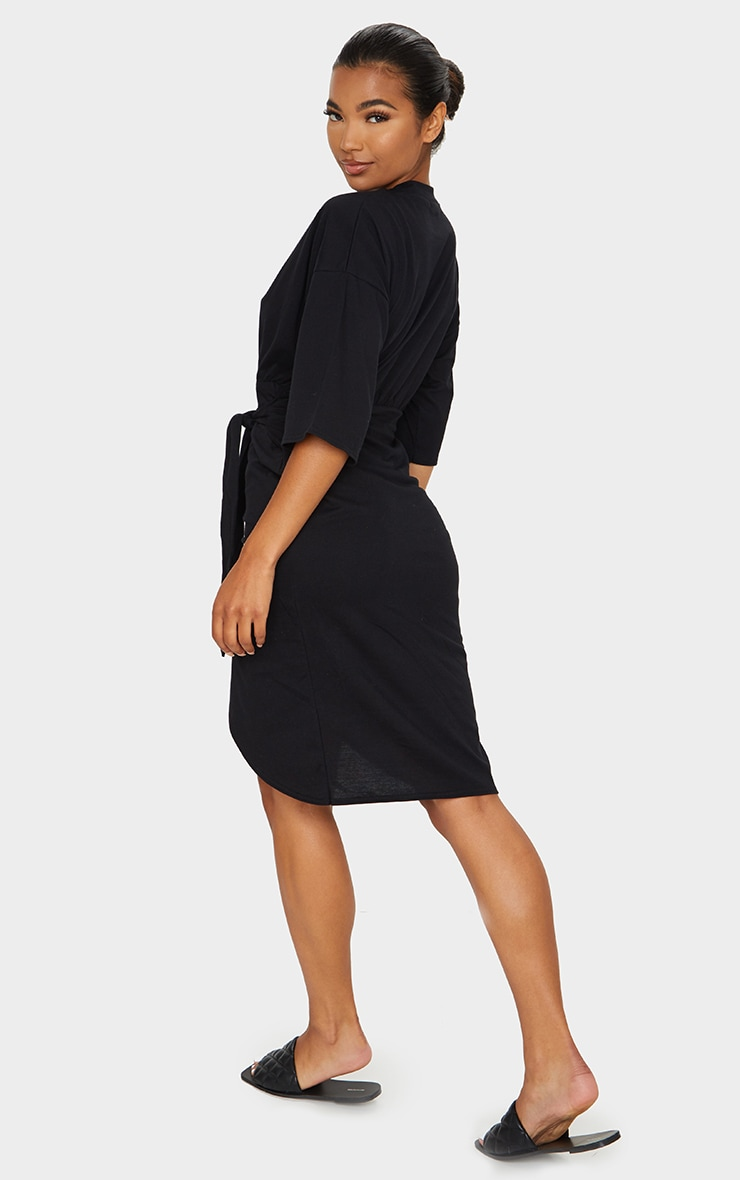Black Wrap Tie Detail T Shirt Dress 2
