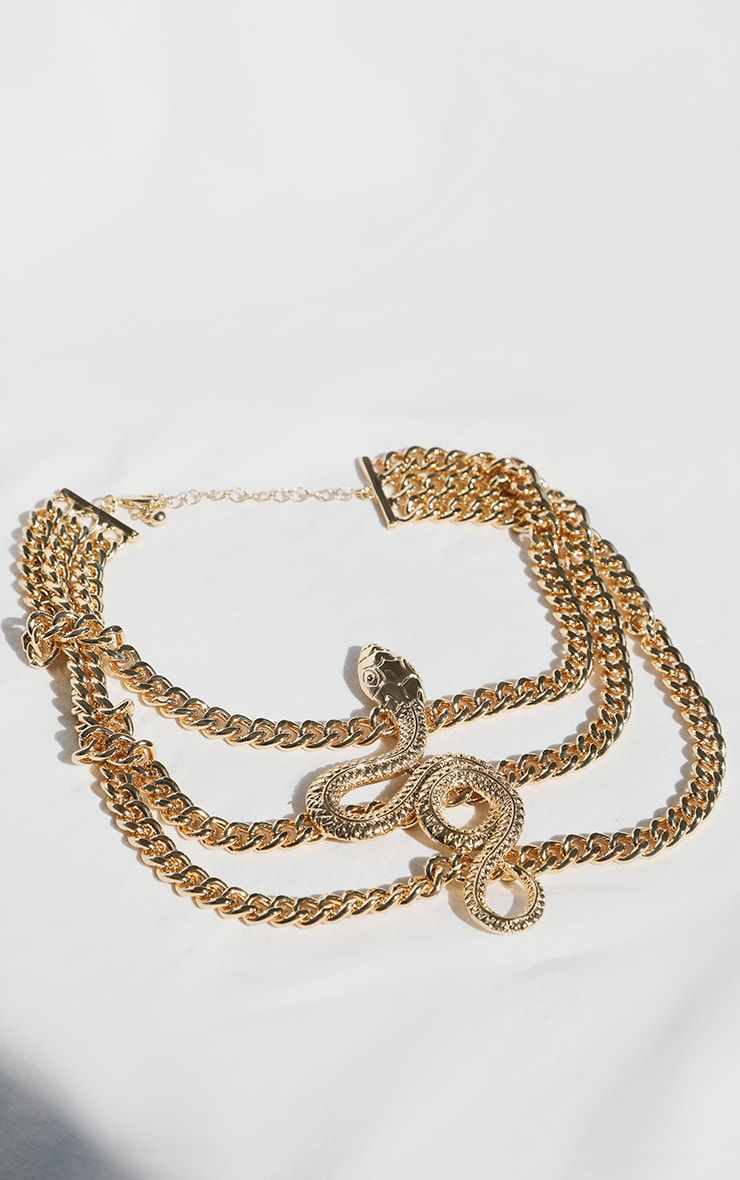 Gold Multi Chain Snake Choker 1