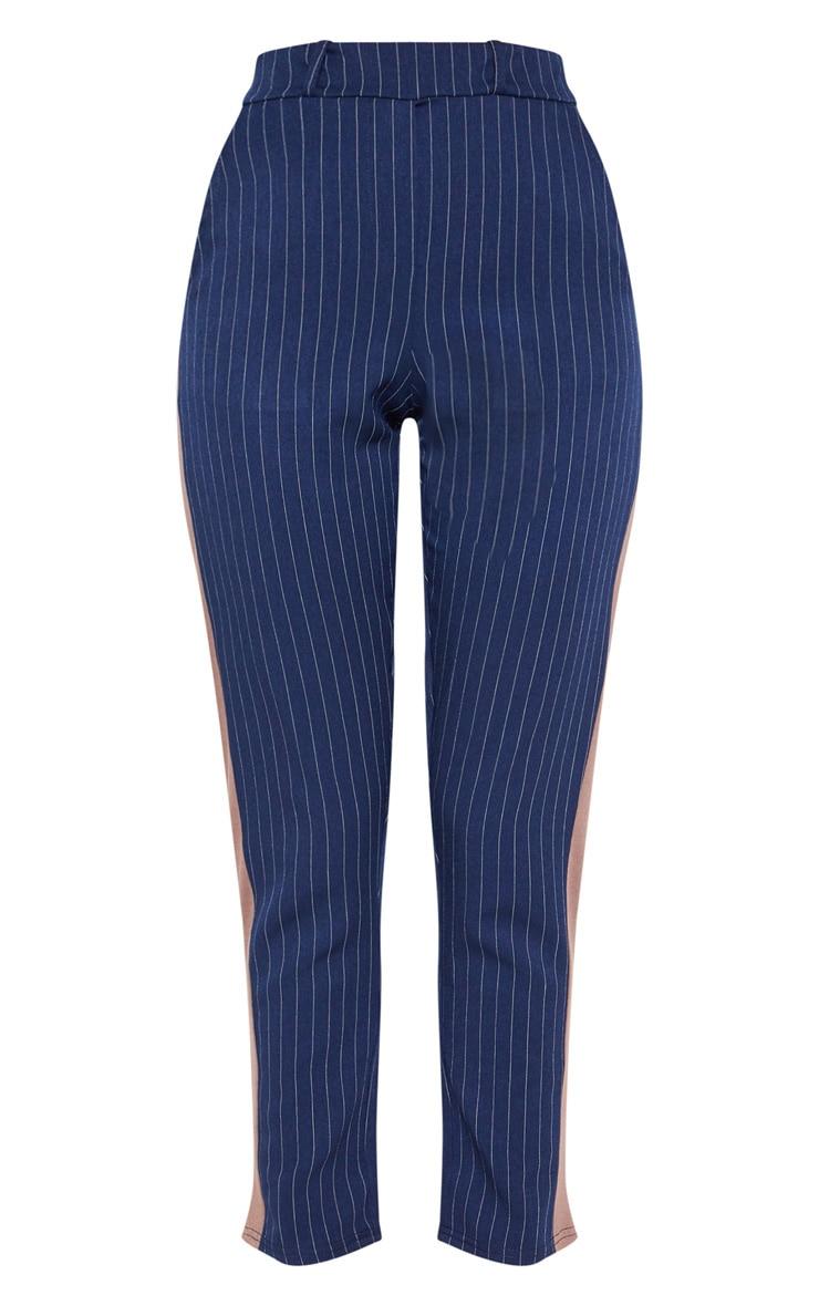 Navy Pinstripe Formal Side Stripe Trouser 3