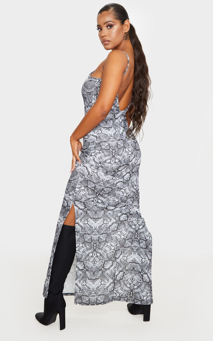 Grey Snake Print Racer Neck Low Back Maxi Dress 2