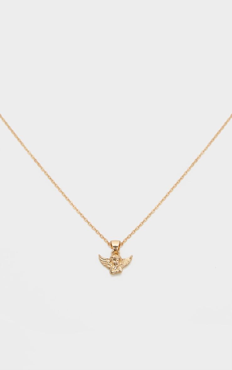 Gold Simple Chain Cherub Necklace 3