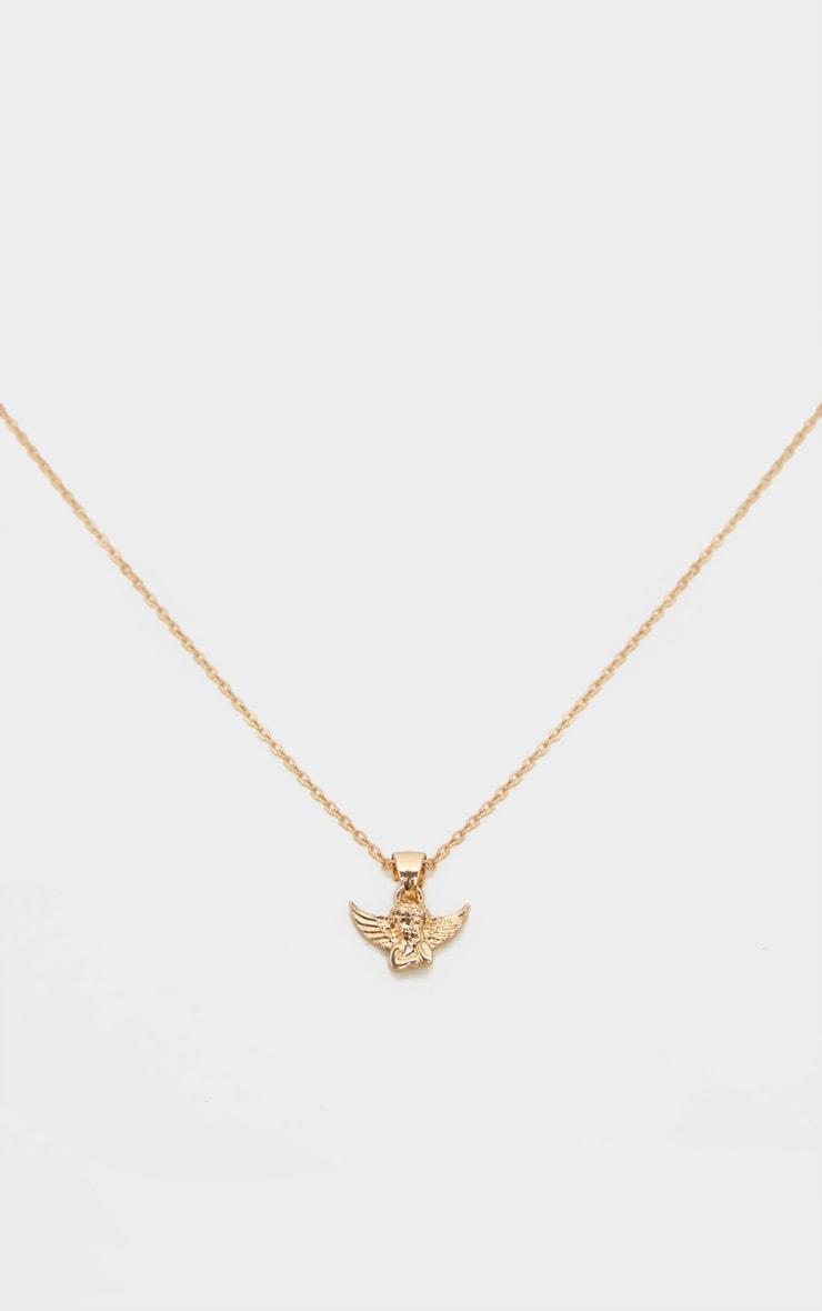 Collier à chaîne dorée et pendentif chérubin 3
