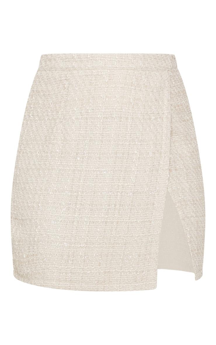 Stone Textured Glitter Tweed Split Front Mini Skirt  3