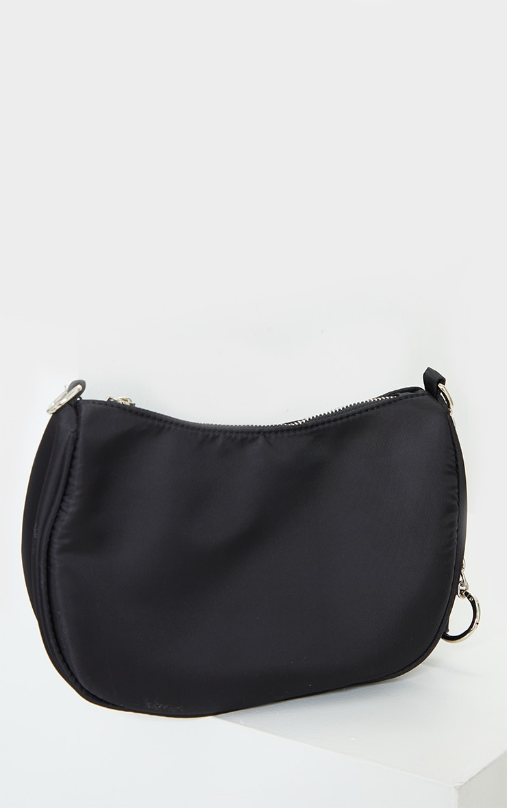 Black With Silver Chain Shoulder Bag 3