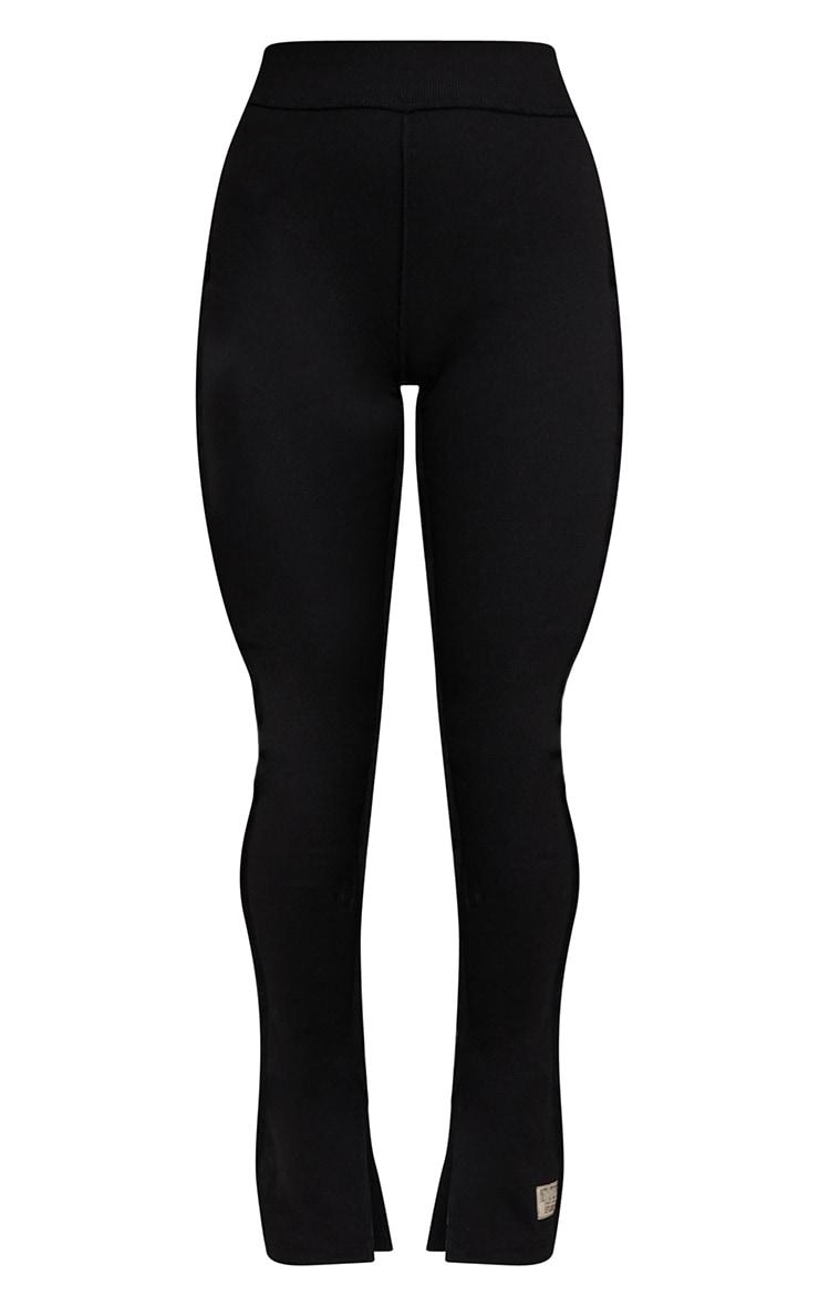PRETTYLITTLETHING Black Badge Structured Rib Split Hem Flare Pants 5