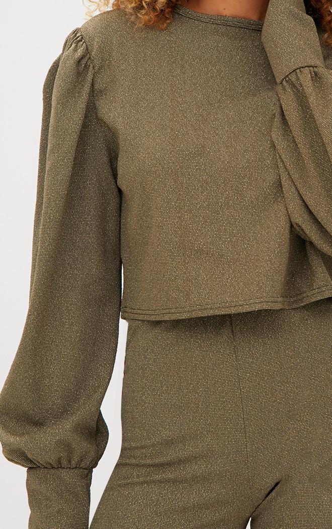 Khaki Lurex Sport Stripe Sweater 5