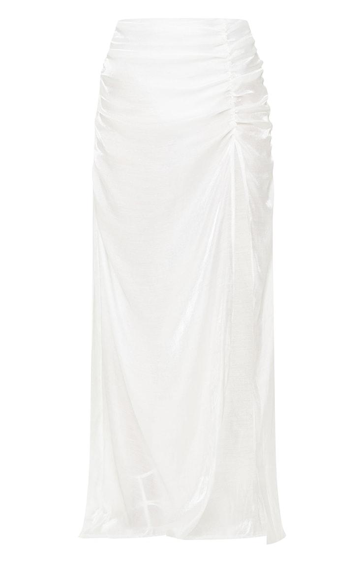 White Sheer Ruched Side Split Leg Maxi Skirt 5