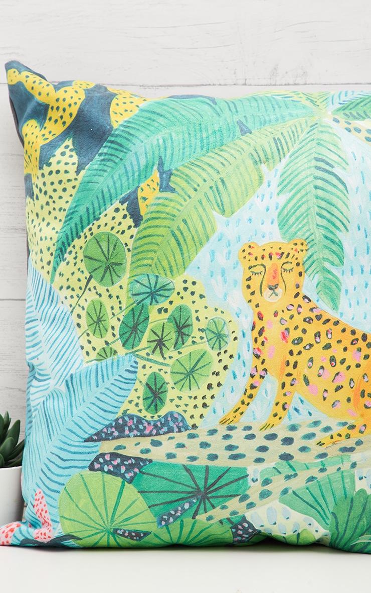 Green Jungle Leopard Cushion 2
