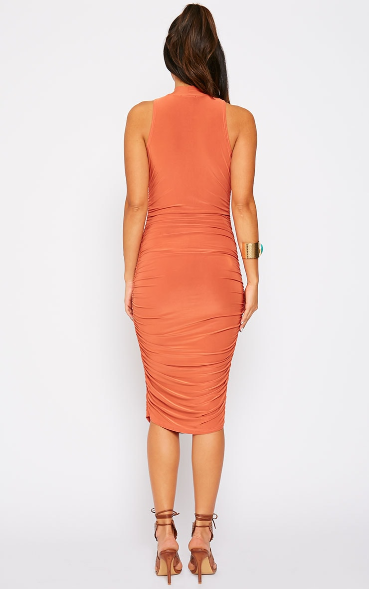 Alabama Rust Slinky High Neck Ruched Sides Dress 3