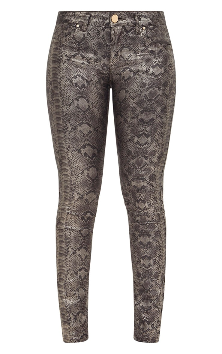 Silver Metallic Snakeskin Skinny Jeans 3