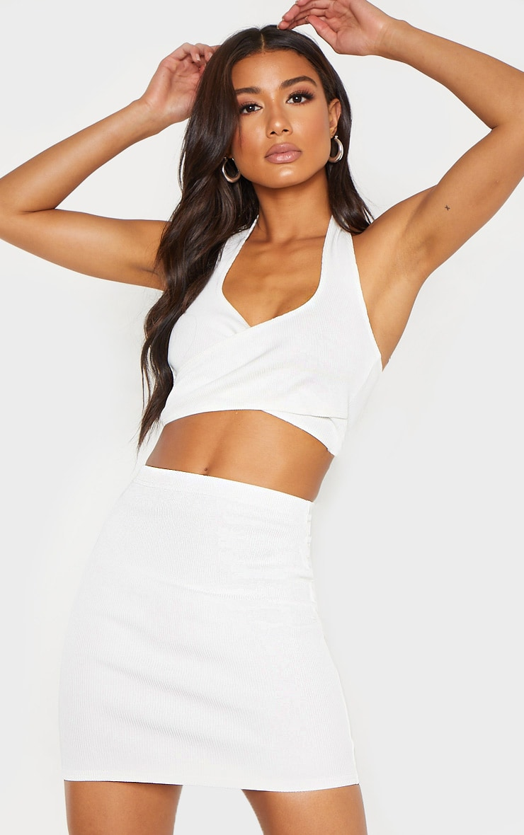 Cream Bandage Rib Mini Skirt by Prettylittlething
