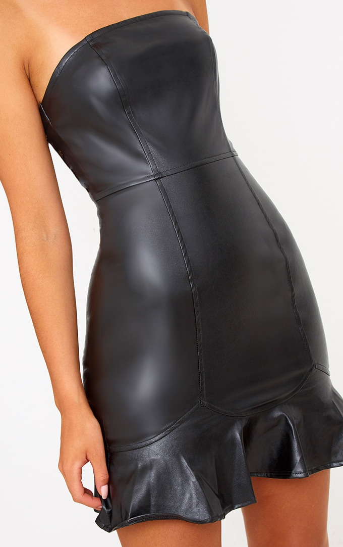 Black PU Frill Hem Bodycon Dress 5