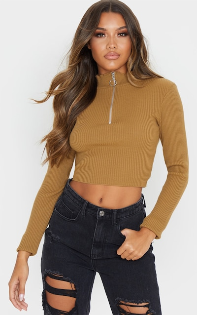 Camel High Neck Zip Front Rib Knit Top