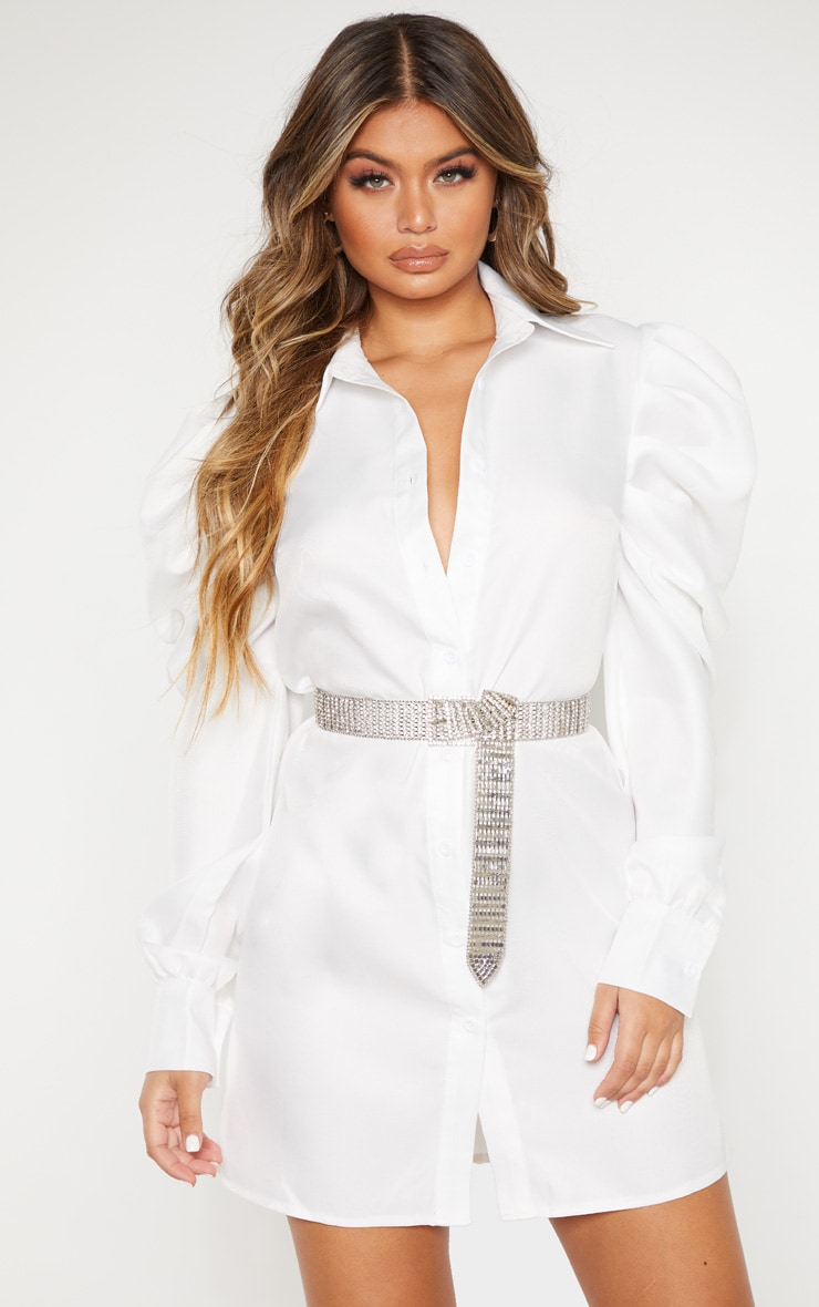White Puff Sleeve Shirt Dress 4
