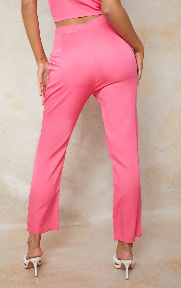 Hot Pink Woven Pocket Detail Cigarette Trousers 3