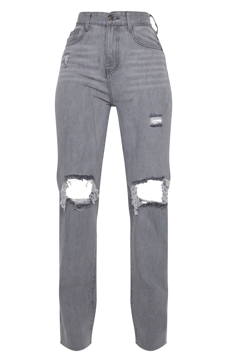 Washed Grey Distressed High Waist Straight Leg Jean 5