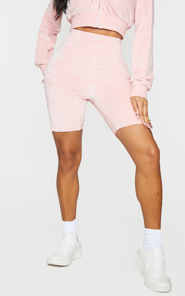 Shape Baby Pink Velour Ruched Bum Bike Shorts 2