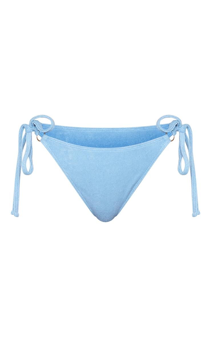 Blue Towel Ring Detail Tie Side Bikini Bottoms 5