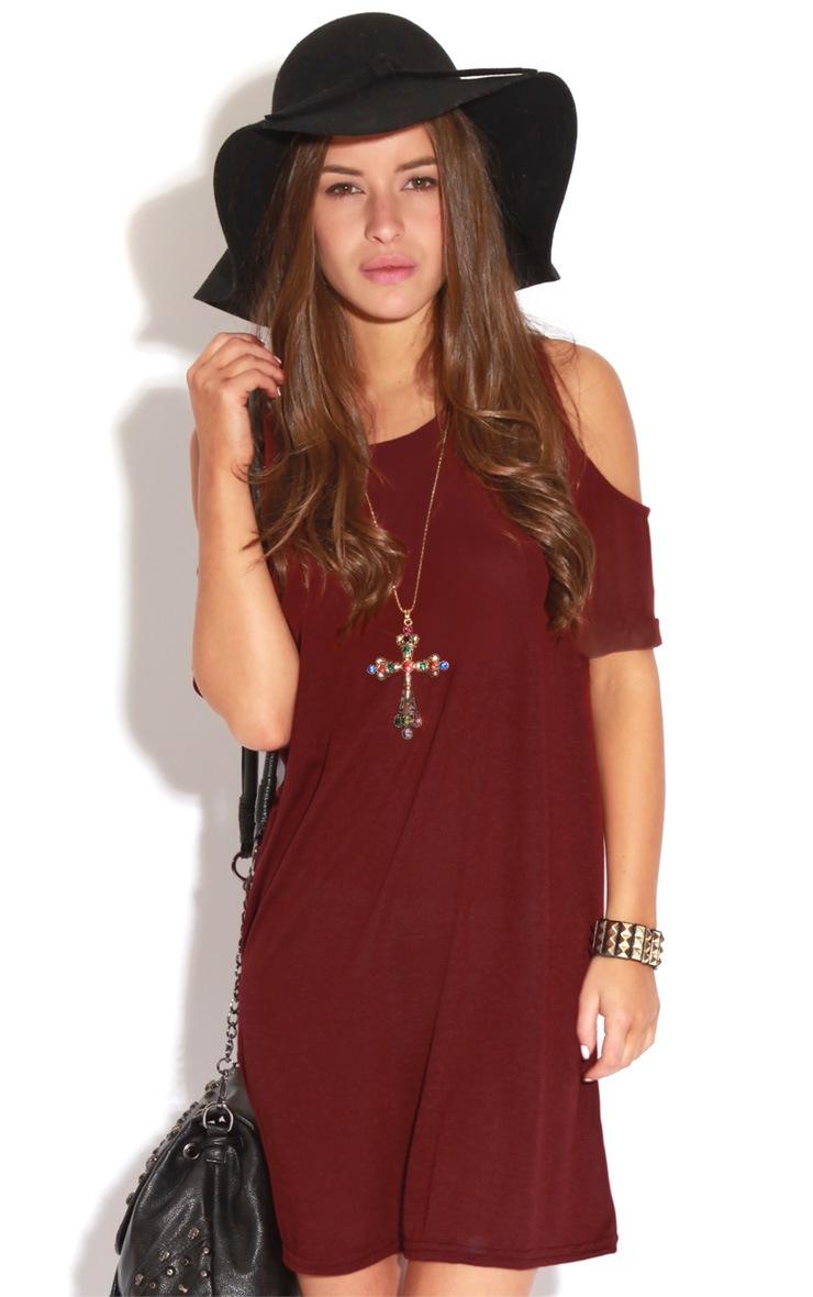 Mahlee Burgundy Cut Out Shoulder Dress-S/M 3