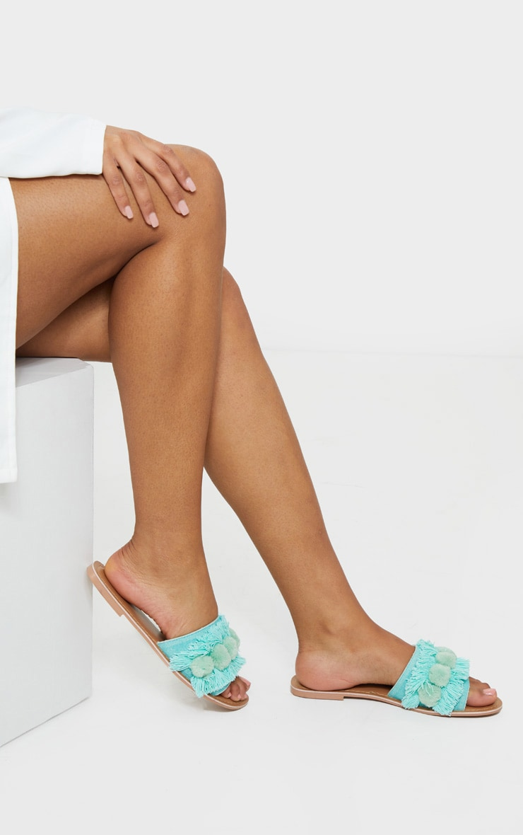 Mint Tassel And Pom Pom Mule Sandals 1