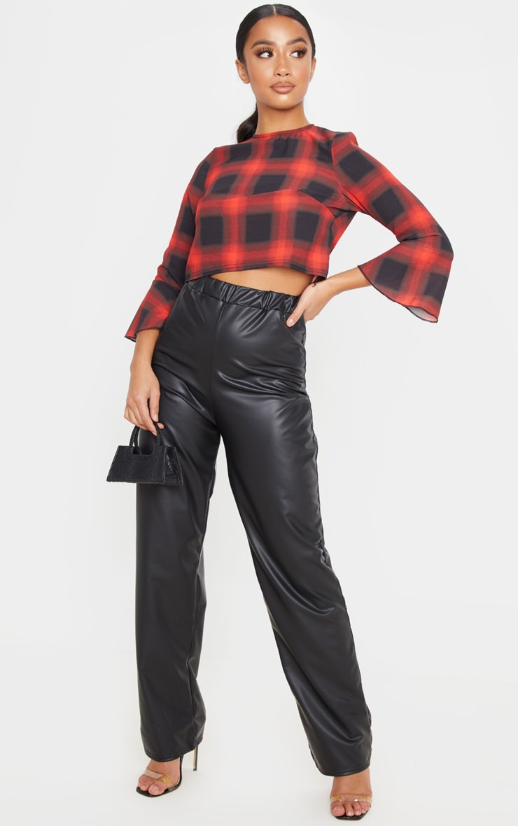 Petite Red Check Cropped Blouse 5