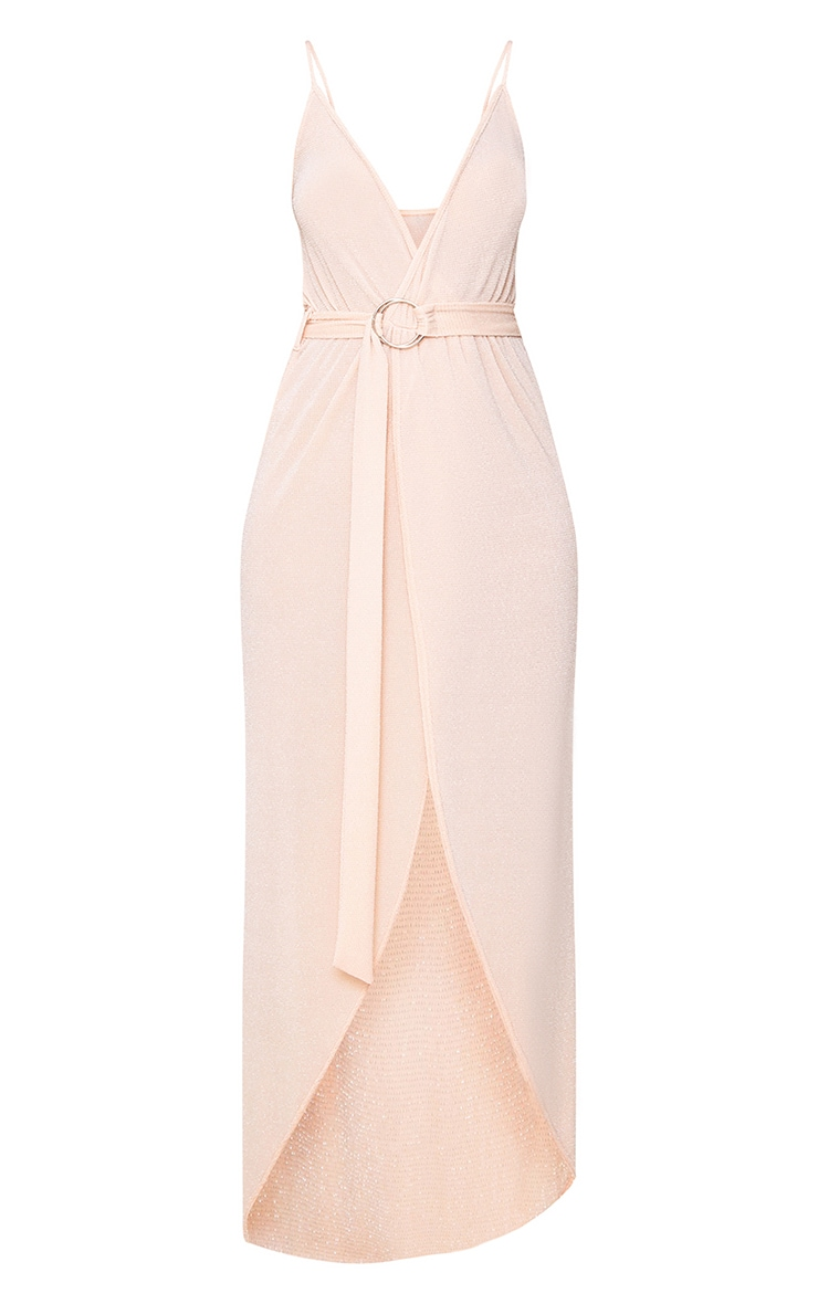 Nude Glitter Lurex Wrap Maxi Dress 3