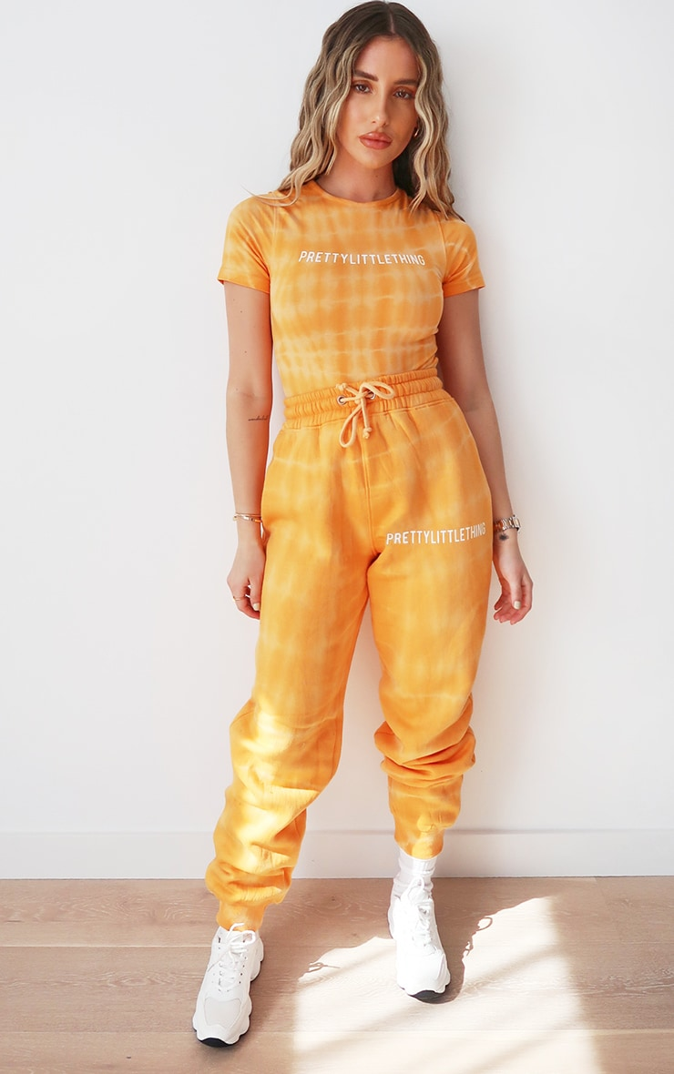 PRETTYLITTLETHING Orange Tie Dye Washed Short Sleeve Bodysuit 3