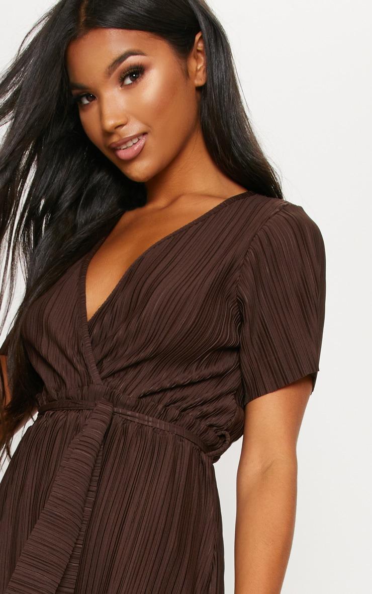 Chocolate Pleated Midi Dress 5