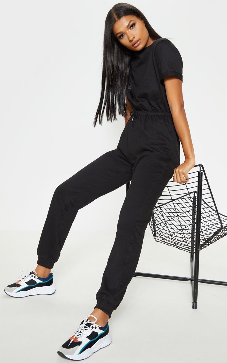 Black Sweat Short Sleeve Track Pant Jumpsuit 4