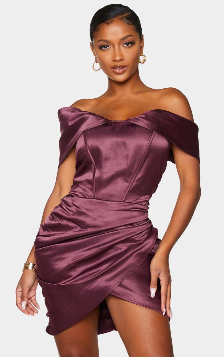 Shape Plum Ruched Corset Detail Bardot Bodycon Dress 1