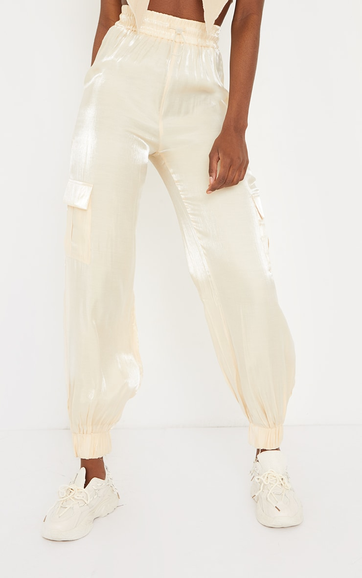 Tall Cream Pocket Detail Reflective Track Pants 2