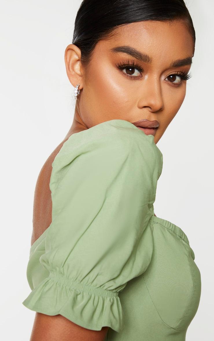 Sage Green Puff Sleeve Frill Hem Midi Dress 4