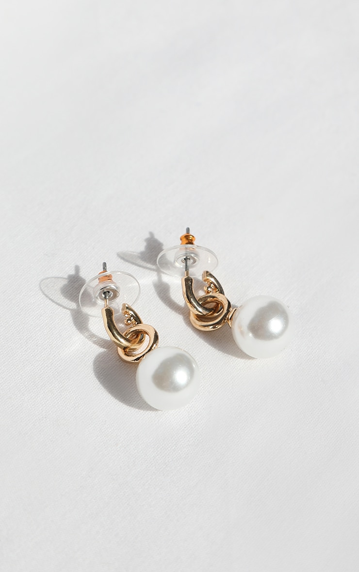 Gold Mini White Pearl Hoop Earrings 3