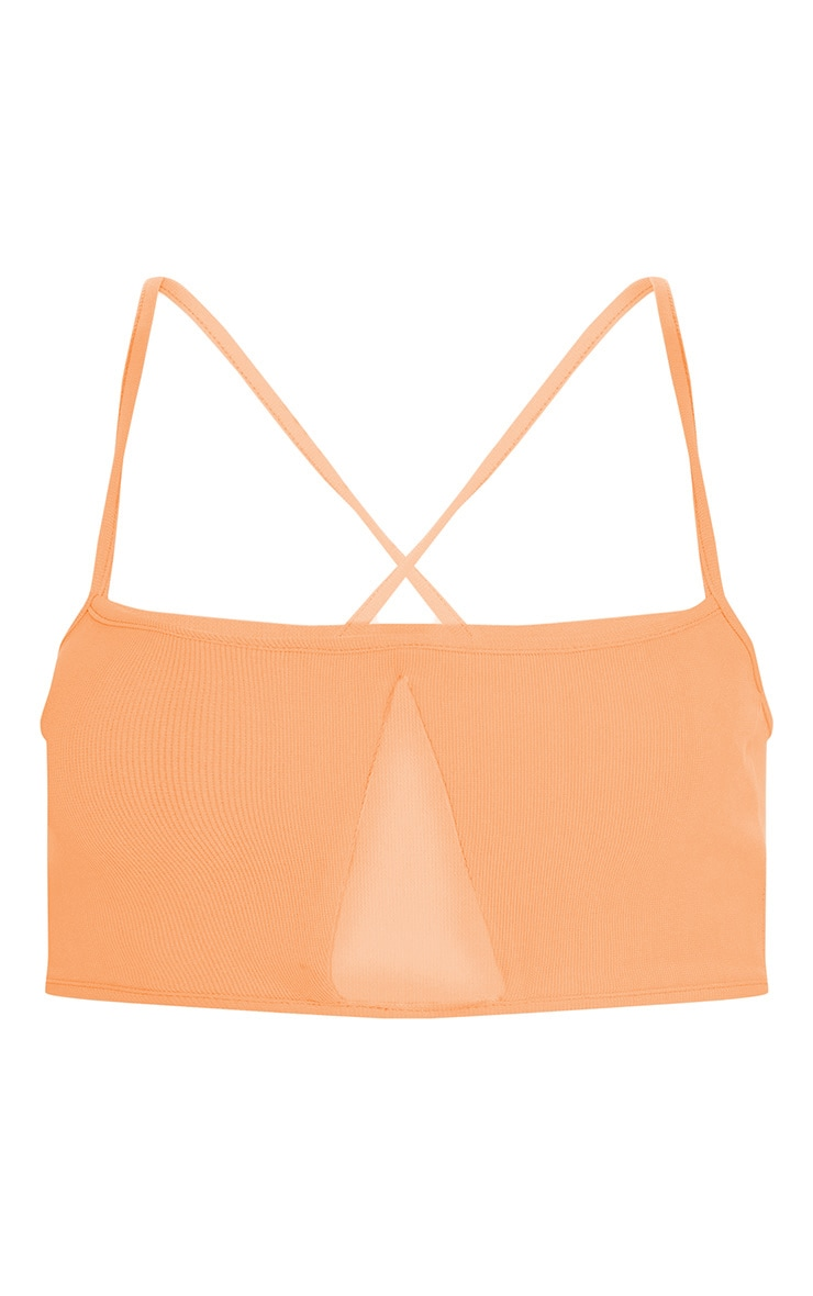 Plus Peach Second Skin Rib Strappy V Bar Crop Top 3