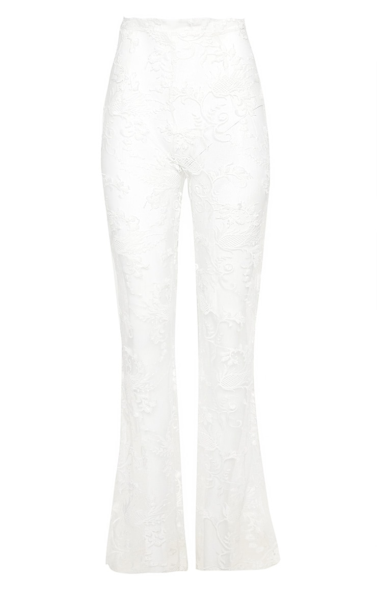 White Occasion Sheer Lace Flare Leg Trouers 3