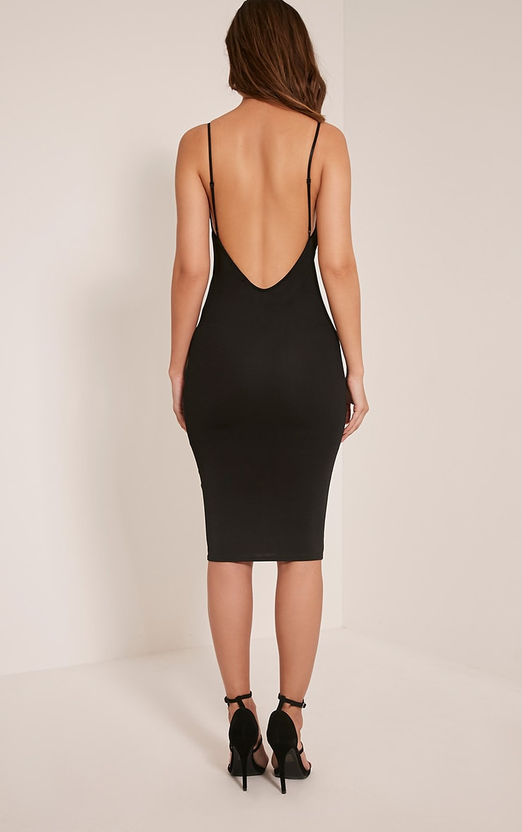 Ada Black V Back Crepe Midi Dress 2