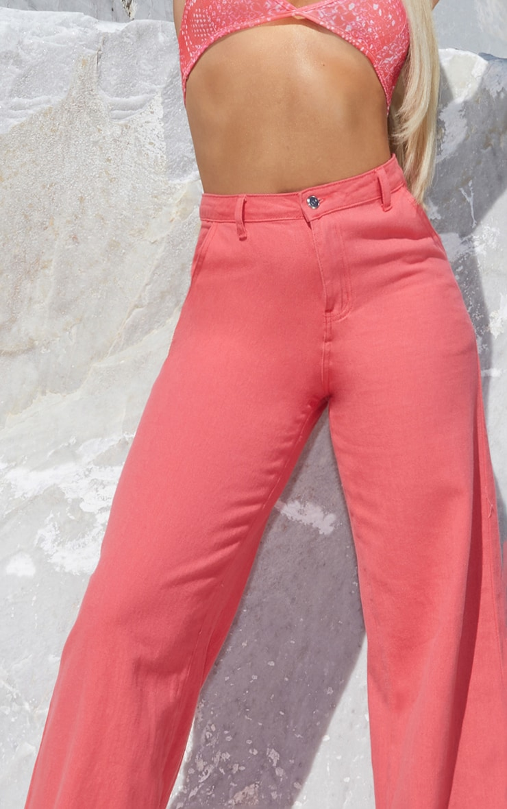 Coral Wash Denim Wide Leg Jeans 4