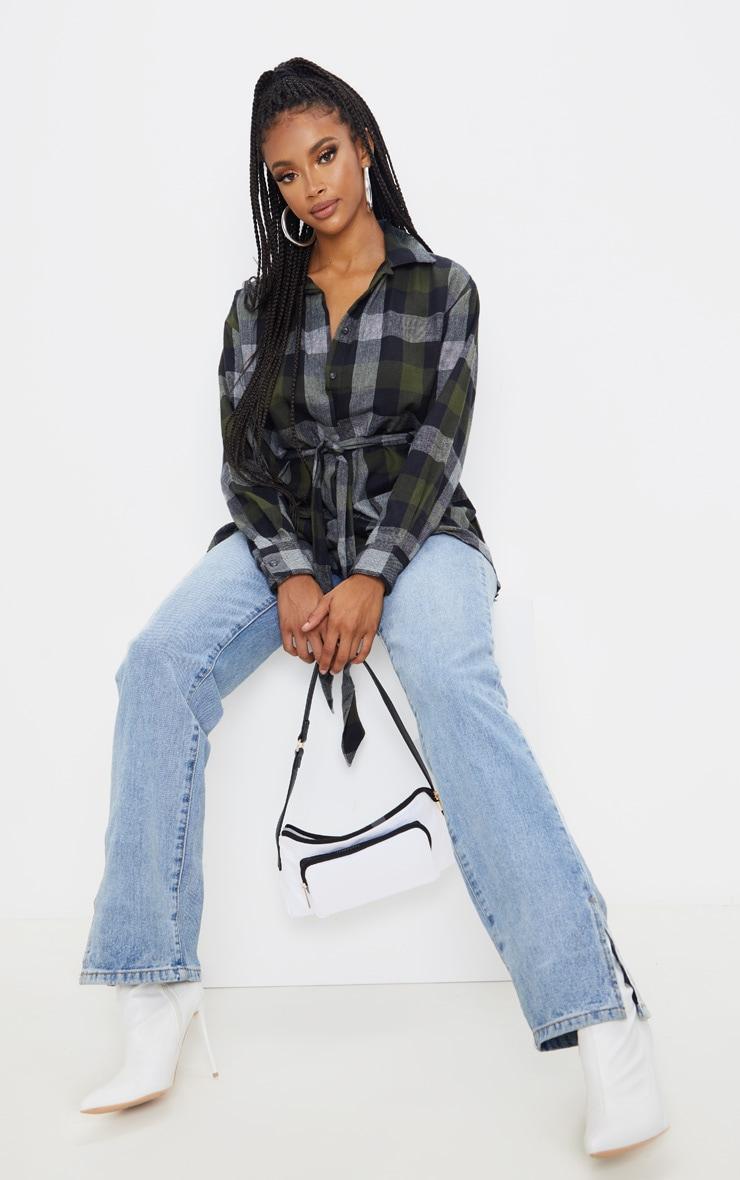 Khaki Check Belted Oversized Shirt 4