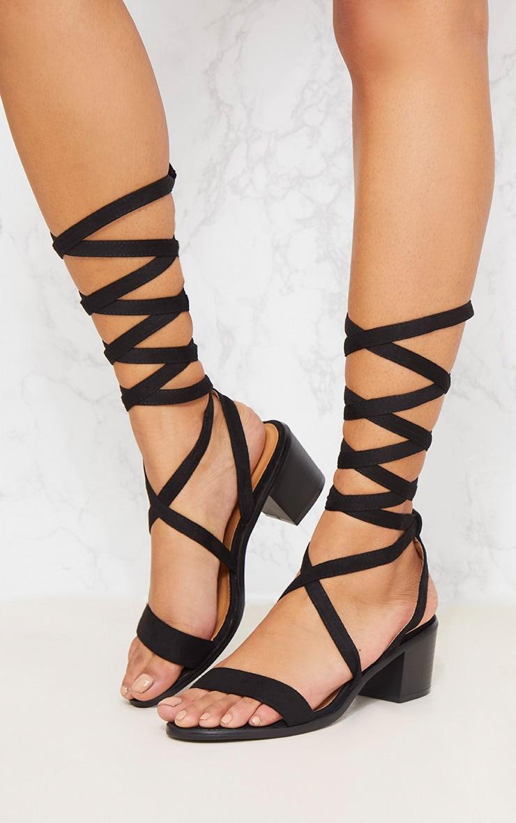 Kallia Black Faux Suede Lace Up Heeled Sandals 2