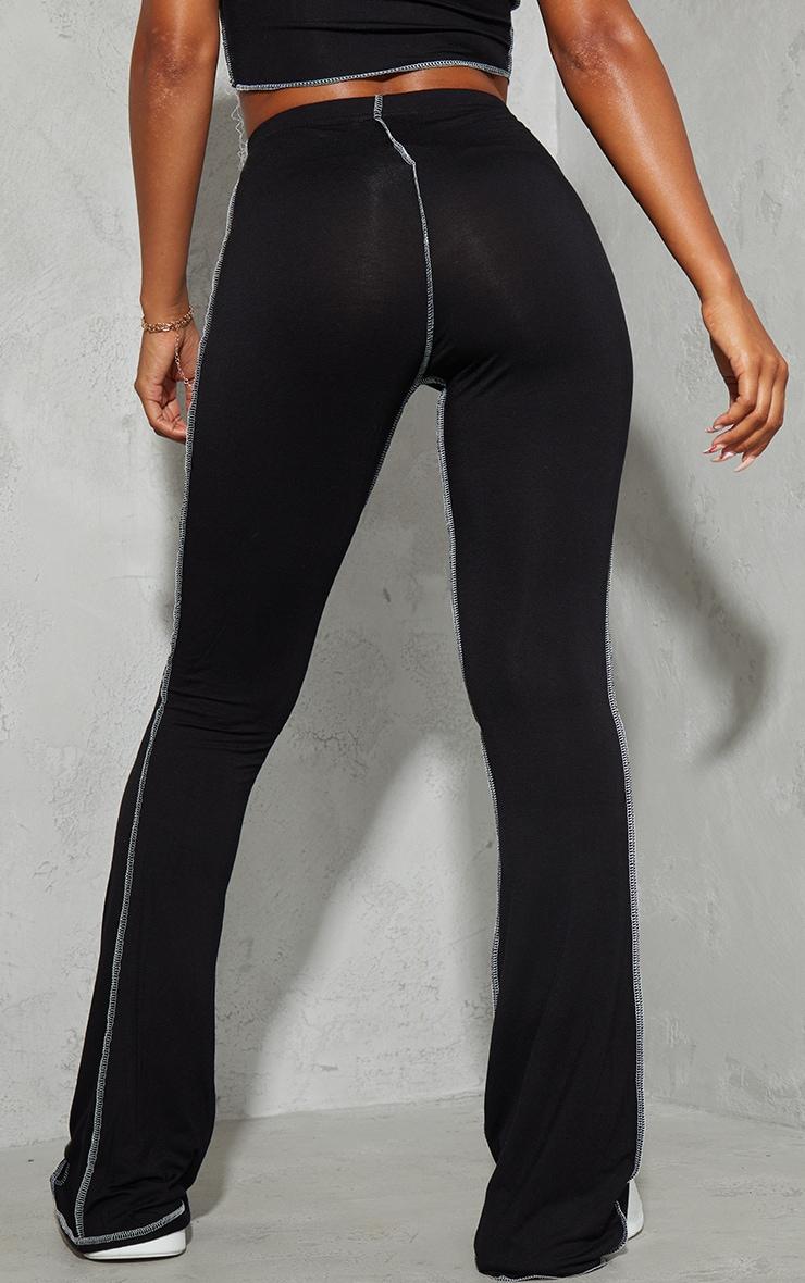 Black Contrast Stitch Seam Flared Trousers 3